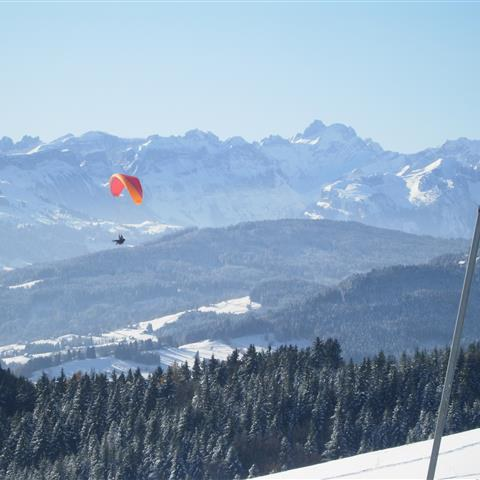 Aussicht von Oberegg in den verschneiten Alpstein. Vergrösserte Ansicht
