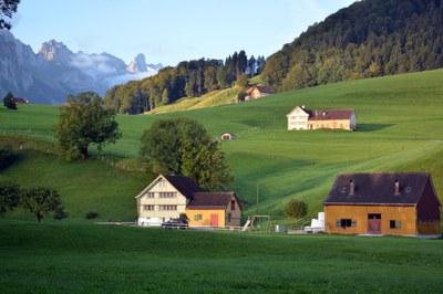 Streusiedlung und farbiges Bauernhaus