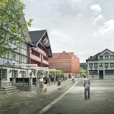 Visualisierung des Siegerprojekts für das neue Verwaltungsgebäude. Vergrösserte Ansicht